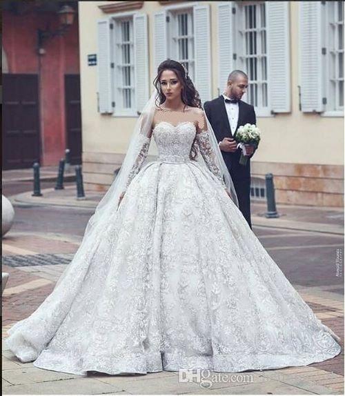 لباس عروس جدید آستین دار