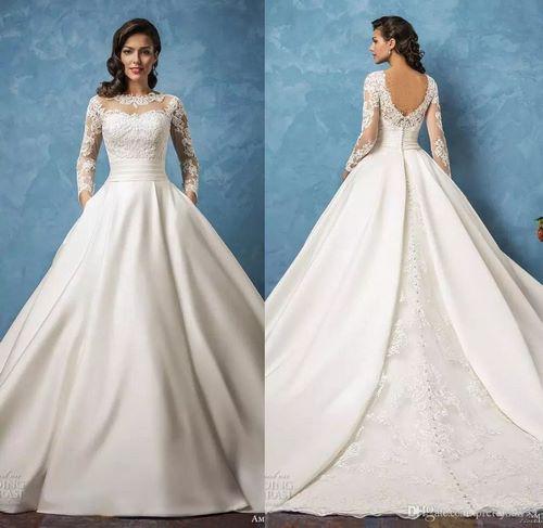 لباس عروس جدید دانتل دار و آستین دار