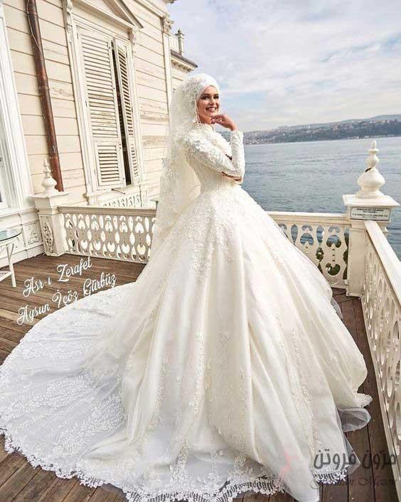 لباس عروس با آستین حجاب دار