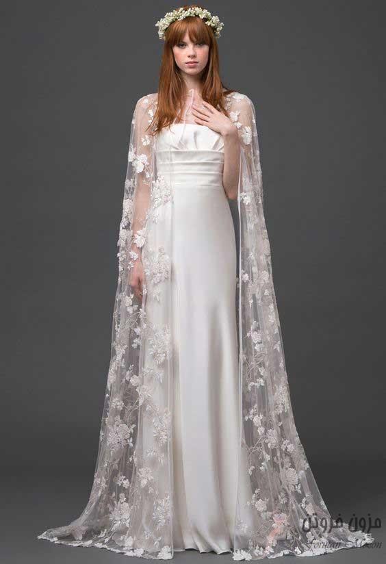 لباس عروس با شنل توری