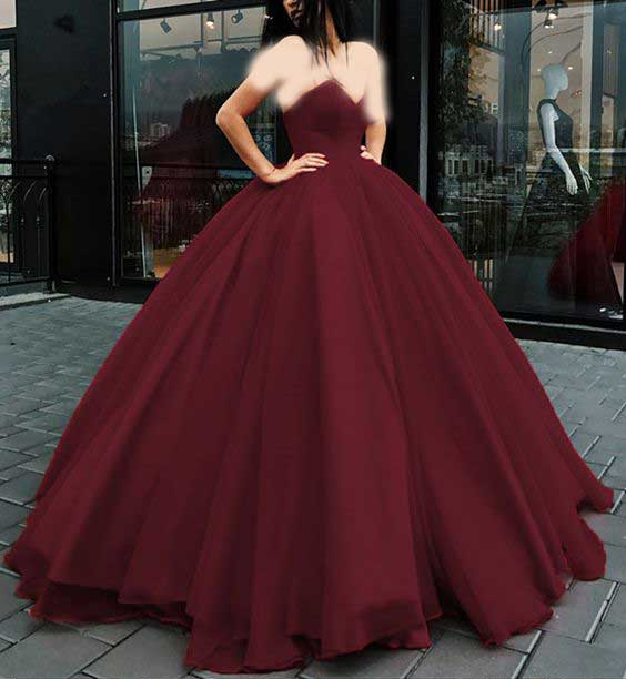 لباس عروس پفی زرشکی