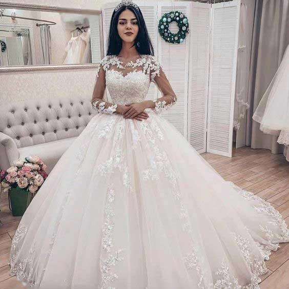 لباس عروس پفی استین دار