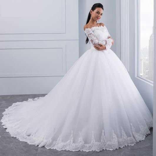 لباس عروس پفی استین بلند